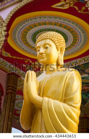 Buddha statues are artistic people of Laos. And in a temple in the city of Savannakhet, Laos. - stock photo