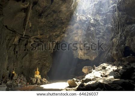 Buddha statues at Kho Luang cave , Phetburi city , Middle of Thailand. - stock photo