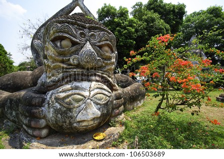 Buddha statues at the beautiful and bizarre buddha park in Vient
