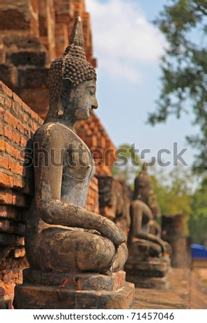 Buddha statues in a sitting position