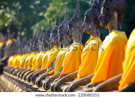 Buddha statues in Ayutthaya,Thailand. In 1767, the city was destroyed by the Burmese army. The ruins are preserved in Ayutthaya historical park, which is recognized as a UNESCO World Heritage Site. - stock photo