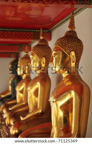 Buddha statues made of gold - stock photo