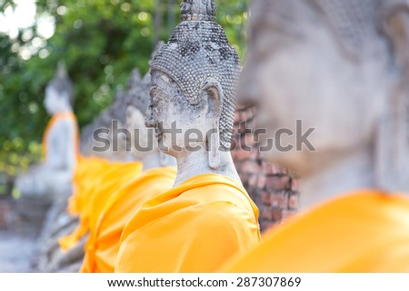 Buddha Temple wat Chaiwatthanaram of Ayutthaya Province - stock photo