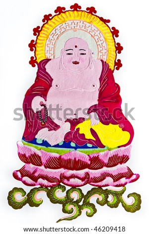 Buddha.This is a Chinese paper-cut, reflecting the Buddha's image. - stock photo