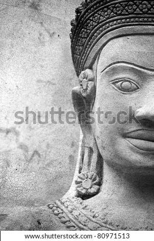 Buddha warrior stone statue, Thailand. - stock photo