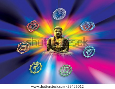 buddha with symbols of chakra over rainbow whirl - stock photo