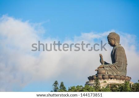 Buddha with the blue sky, Po Lin Monastery, Lantau Island, Hong Kong - stock photo