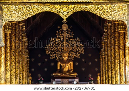 Buddhas at the temple of Wat Pupraw in Ubon Ratchathani, Thailand - stock photo