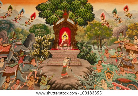 buddhish art paint style in public temple of thailand - stock photo