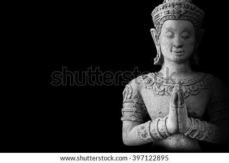 Buddhism for statues or models of the Buddha portrait isolated on black - stock photo
