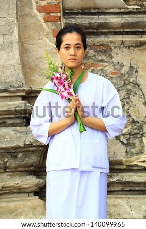 Buddhism nuns - stock photo
