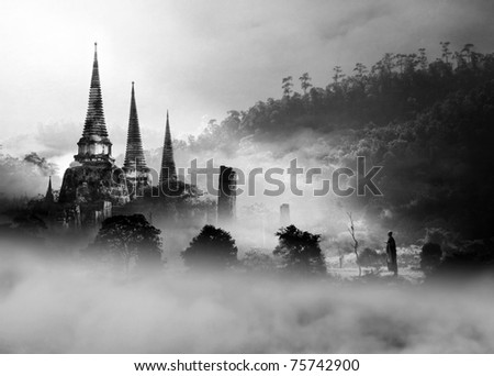 Buddhism Way (Conceptual Surreal Style) - stock photo