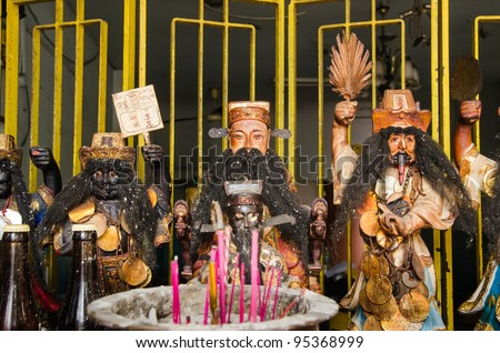 buddhist altar gods - stock photo