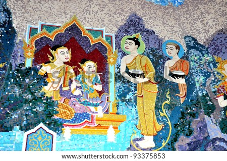 Buddhist Art on the Wall in Thai Temple