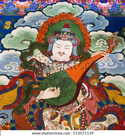 Buddhist art on the walls of Drepung Monastery in the Tibet Autonomous Region of China. Drepung is the largest of all Tibetan monasteries and is located on the Gambo Utse mountain, near Lhasa.