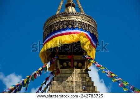 Buddhist Boudhanath Stupa in Kathmandu, Nepal  - stock photo