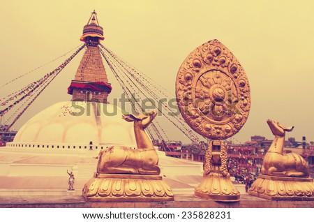 Buddhist Boudhanath Stupa in Kathmandu, Nepal . Instagram toning effect.  - stock photo