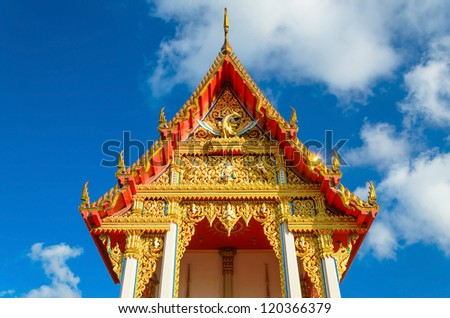 Buddhist church with blue sky background, Thailand
