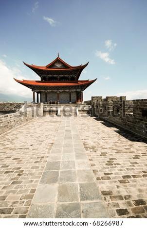 Buddhist gate house temple in Chongsheng monastery, Dali, Yunnan province, China. - stock photo