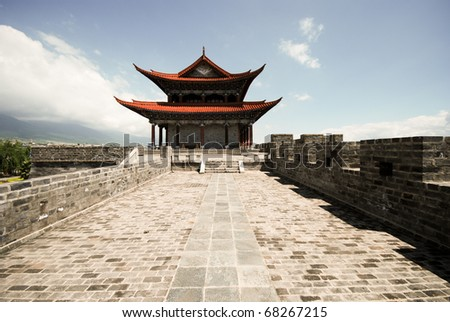 Buddhist gate house temple in Chongsheng monastery, Dali, Yunnan province, China. - stock photo