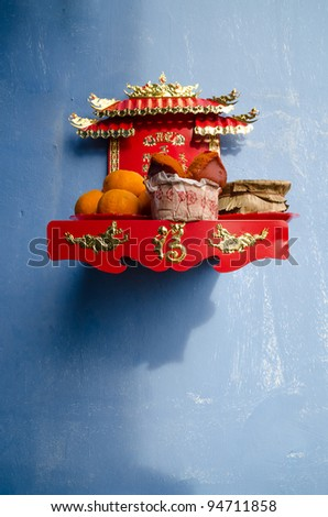 buddhist home altar - stock photo