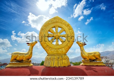 Buddhist Mandala on roof tops of Jokhang Temple in Lhasa, Tibet - stock photo