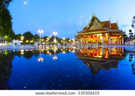 Buddhist Marble temple ( Benchamabophit) at twilight - stock photo
