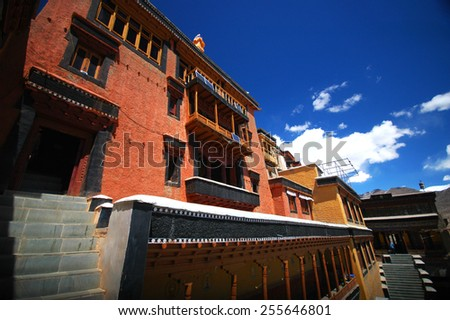 Buddhist monastry in the Indian state of Jammu and Kashmir - stock photo