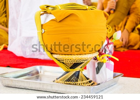 Buddhist monk alms-bowl in thailand, makha bucha day, visakha bucha day, asarnha bucha day - stock photo