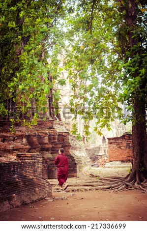 Buddhist monk at ancient ruins of Wat Mahathat. Ayutthaya, Thailand travel landscape and destinations. Vintage style image - stock photo