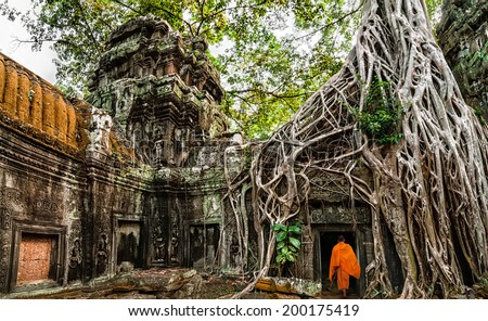 Buddhist monk at Angkor Wat. Ancient Khmer architecture, Ta Prohm temple ruins hidden in jungles. Popular travel destination at Siem Reap, Cambodia - stock photo