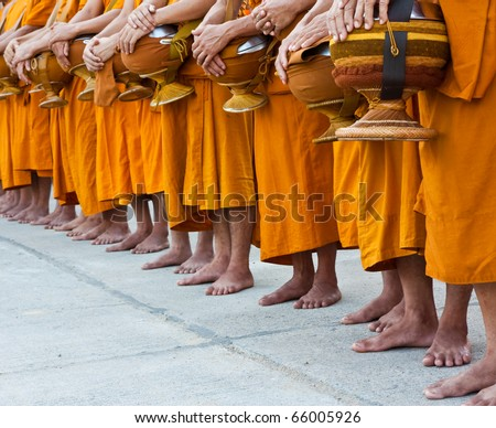 buddhist monk at temple thailand - stock photo
