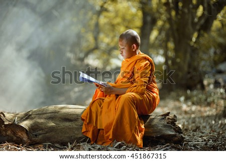 Buddhist monks are reading Novice learning,Thailand,vintage style - stock photo
