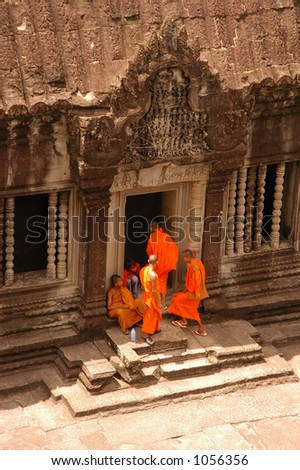 Buddhist Monks at Angkor Wat, Cambodia - stock photo