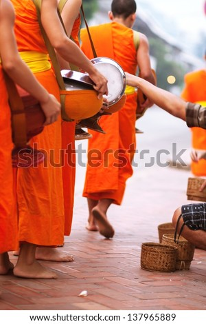 Buddhist monks in Lao - stock photo