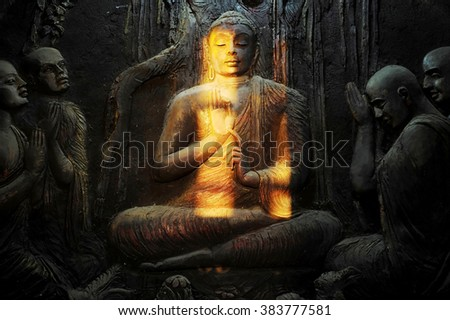 Buddhist mural in old temple. Kandy, Sri Lanka - stock photo