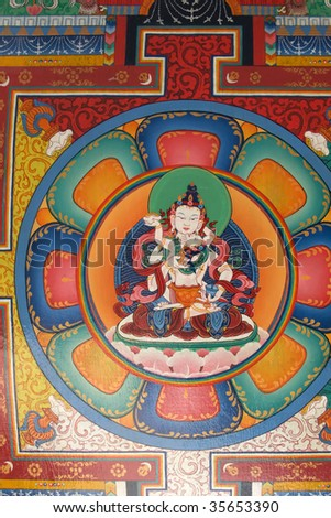 Buddhist painting at ceiling of a gate, Everest trek, Nepal - stock photo