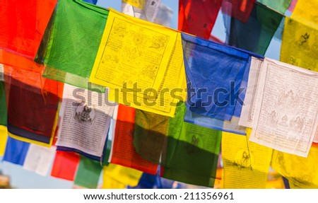 buddhist Prayer Colorful flags with mantras. religion in Asia