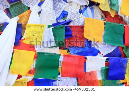 Buddhist prayer flags, Ladakh Leh, Ladakh, Jammu and Kashmir, India