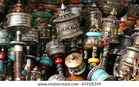 Buddhist prayer wheels  for sale - stock photo