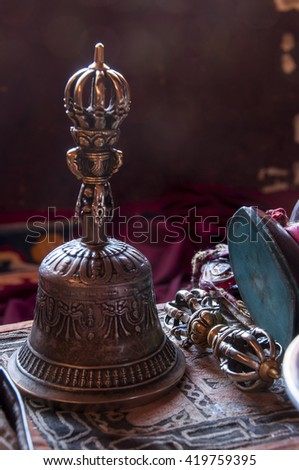 Buddhist religious equipment - Vajra Dorje and bell - stock photo