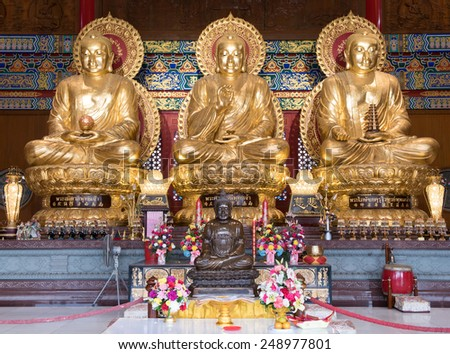 Buddhist Sculpture at Leng Nei Yee 2 Chinese Temple, Thailand - stock photo