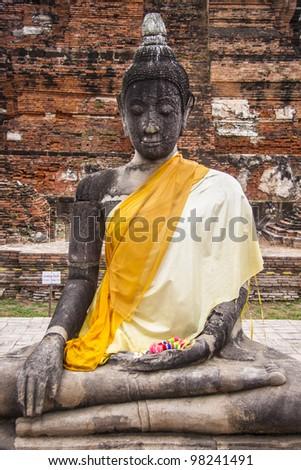 Buddhist shrine in Ayutthaya historical park, Thailand. - stock photo