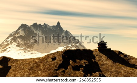 Buddhist shrine in the mountains - stock photo