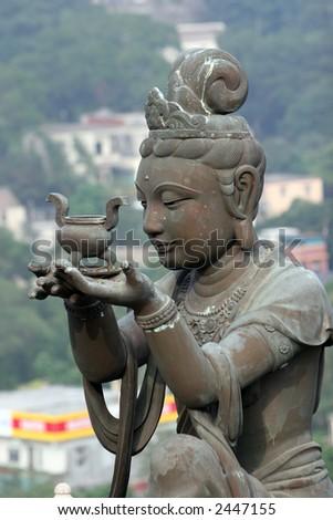 Buddhist statue, Hong Kong Island - stock photo
