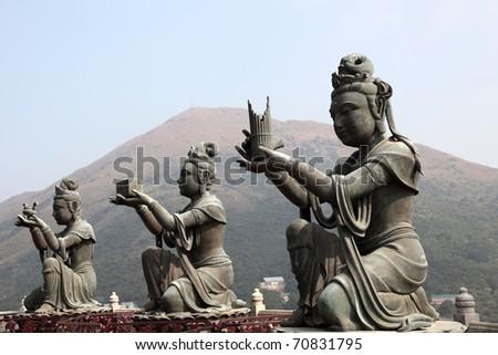 Buddhist Statue in Tian Tan Hong Kong, China - stock photo