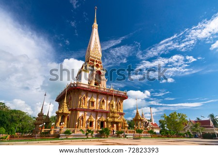 Buddhist stupa in Wat Chalong temple, Thailand - stock photo