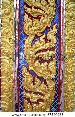 Buddhist temple architecture in Bangkok, Thailand. - stock photo