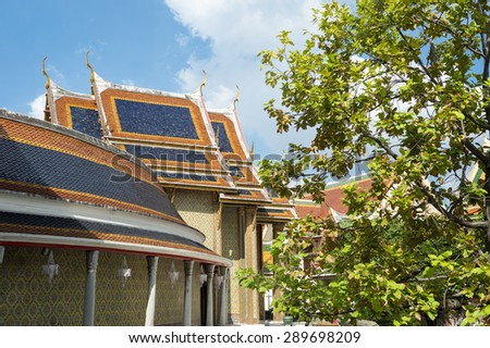 Buddhist temple architecture of Wat Ratchabopit under blue sky in Bangkok Thailand