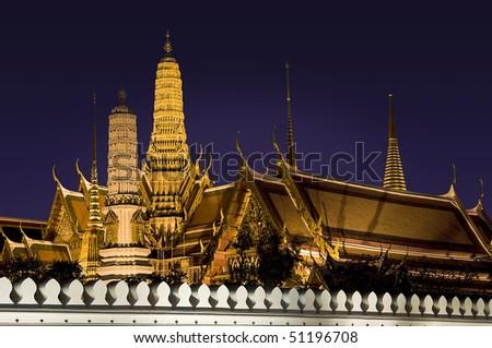 Buddhist temple Grand Palace at night in Bangkok, Thailand - stock photo
